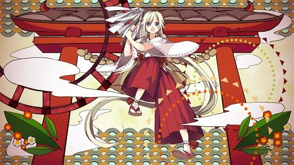 Tags: Anime, Em (Pixiv669394), Vocaloid, IA, Hakama, Holding Object, Sandals