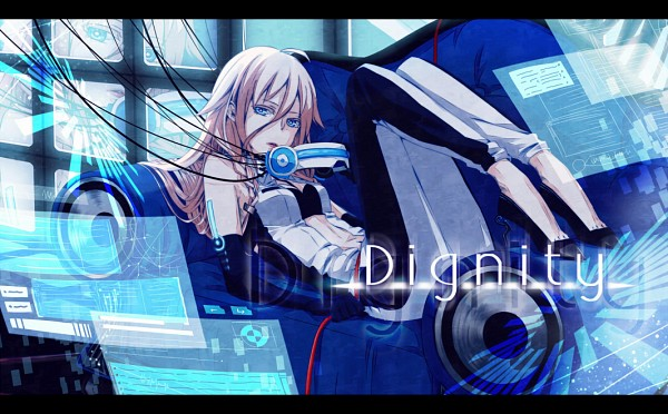 Tags: Anime, Pixiv Id 3834784, Vocaloid, IA, Futuristic Theme, String, Laying on Couch