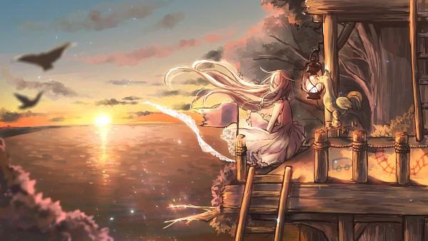 Tags: Anime, Pixiv Id 258019, Vocaloid, IA, Sunset, Stars (Sky), Wind