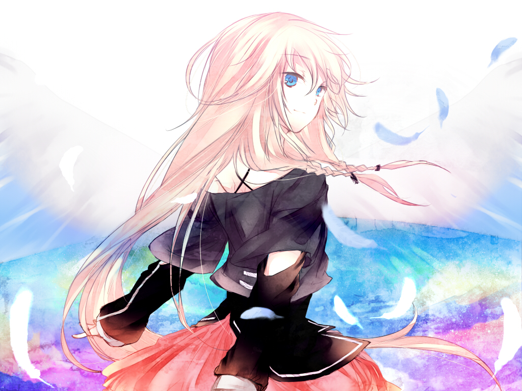 Tags: Anime, Caco, Vocaloid, IA, Feather, Pleated Skirt, Looking Back