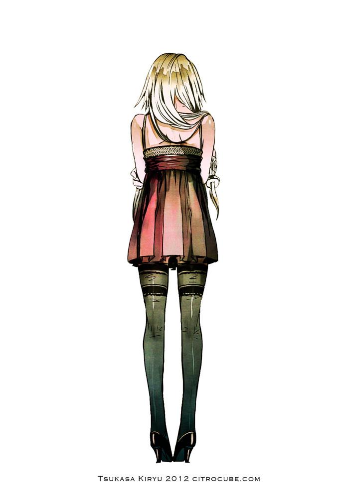Tags: Anime, Kiryu Tsukasa (Pixiv3559), VOCALOID, IA, Text: URL, Sleeveless Dress, Self Hug