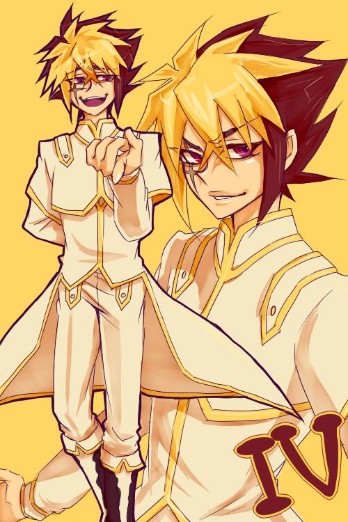 Tags: Anime, Pixiv Id 1357014, Yu-Gi-Oh!, Yu-Gi-Oh! ZEXAL, IV (Yu-Gi-Oh! ZEXAL), One Arm Behind Back, Pointing at Camera, Fanart, Fanart From Pixiv, Pixiv, Tron Family