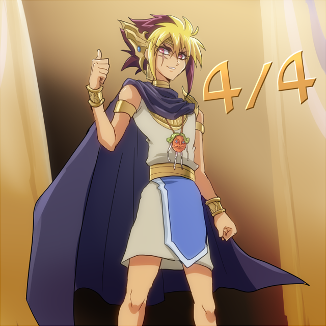 Tags: Anime, Kaminari Jin, Yu-Gi-Oh!, Yu-Gi-Oh! ZEXAL, Gimmick Puppet Egg Head, IV (Yu-Gi-Oh! ZEXAL), Thumbs Up, Egyptian Clothes, Pharaoh Atem (Cosplay), Pixiv, Fanart From Pixiv, PNG Conversion, Fanart