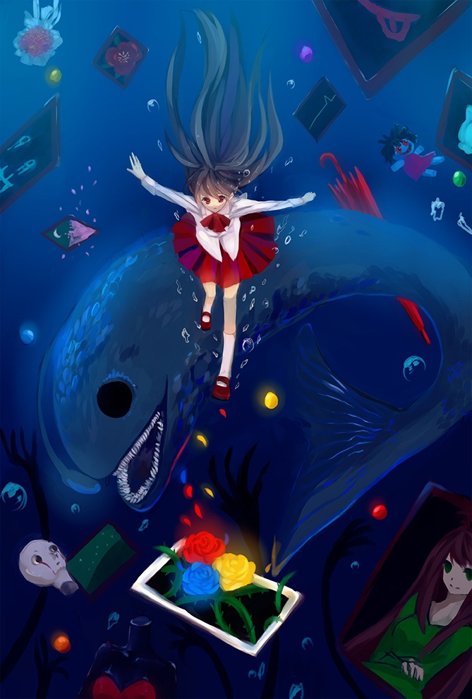 Tags: Anime, Ib, Ib (Character), Death of the Individual, Blue Doll, Lady in Green, Painting (Object), Mobile Wallpaper, Fanart