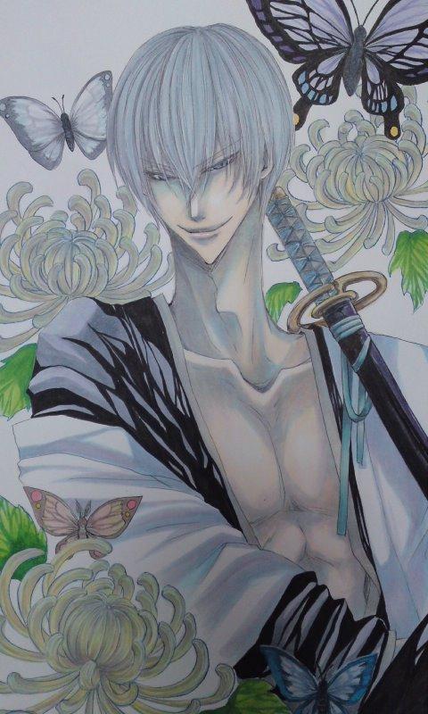 Tags: Anime, Pixiv Id 3266635, BLEACH, Ichimaru Gin, Mobile Wallpaper, Gotei 13