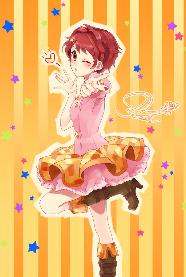 Tags: Anime, Pixiv Id 626053, Aikatsu!, Ichinose Kaede, Pointing at Camera, Orange Skirt, Fanart, Fanart From Pixiv, Pixiv