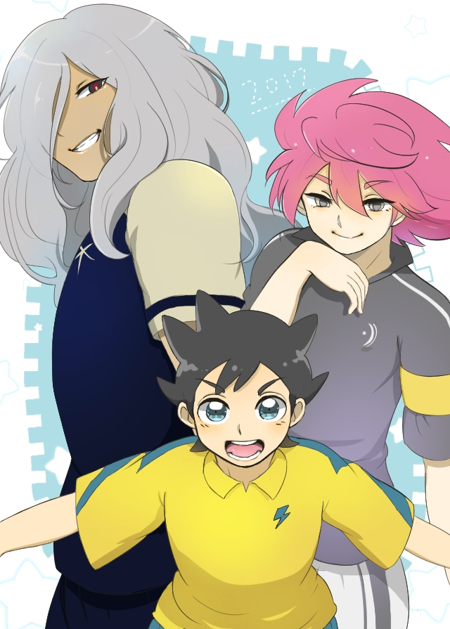 Tags: Anime, Pixiv Id 4341400, Inazuma Eleven: Ares no Tenbin, Haizaki Ryouhei, Nosaka Yuuma, Inamori Asuto, One Eye Showing