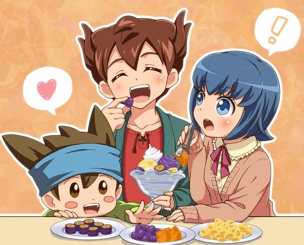 Tags: Anime, Sweater, Exclamation Point, Matsukaze Tenma, Nishizono Shinsuke, Inazuma Eleven GO, Sorano Aoi
