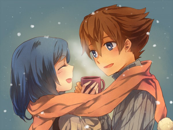 Tags: Anime, Winter, Shared Scarf, Level-5, Cezaria, Matsukaze Tenma, Inazuma Eleven GO