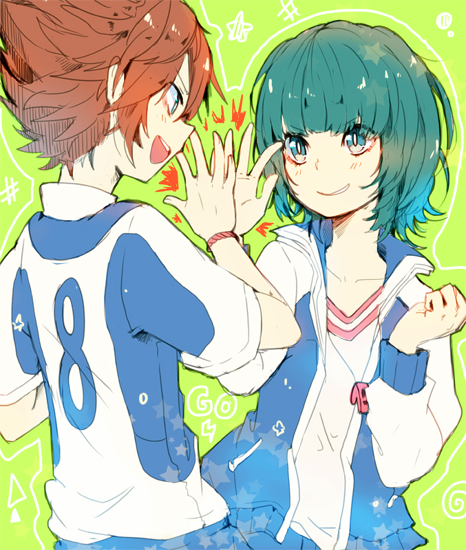 Tags: Anime, Tracksuit, Green Background, Open Jacket, Matsukaze Tenma, Shiuka (Shiupiku), Inazuma Eleven GO