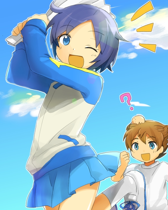 Tags: Anime, Drinks, Inazuma Eleven, Level-5, Blue Sky, Cheering, Matsukaze Tenma