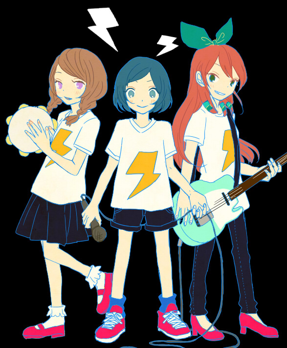 Tags: Anime, Guitar, Jeans, Microphone, T-shirt, Inazuma Eleven, Level-5