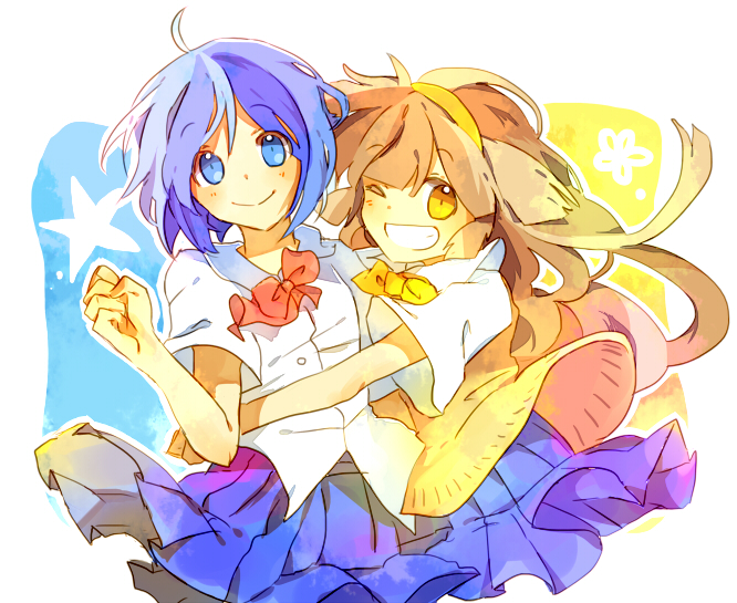 Tags: Anime, Level-5, Sweater Vest, Blue Skirt, Inazuma Eleven GO, Sorano Aoi, Nanobana Kinako
