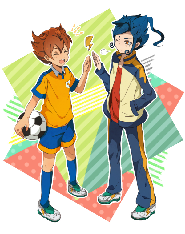 Tags: Anime, Ker, Level-5, Inazuma Eleven GO, Tsurugi Kyousuke, Matsukaze Tenma, High Five
