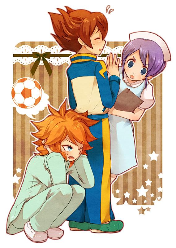 Tags: Anime, Pixiv Id 388404, Inazuma Eleven GO, Amemiya Taiyou, Matsukaze Tenma, Kudou Fuyuka, Pixiv, Fanart, Mobile Wallpaper