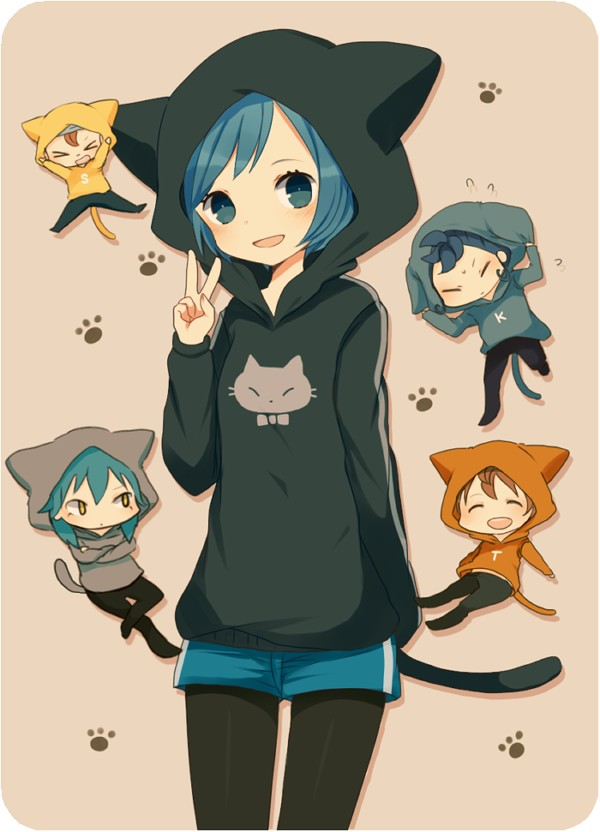 Tags: Anime, Hood, Inazuma Eleven, V Gesture, Crossed Arms, Ayu, Animal Hood