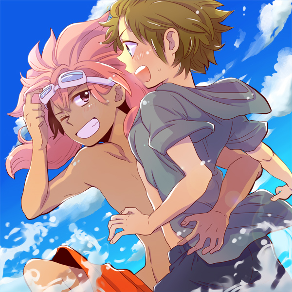 Tags: Anime, Hanako (Pixiv548814), Inazuma Eleven, Tachimukai Yuuki, Tsunami Jousuke, Fanart, Pixiv