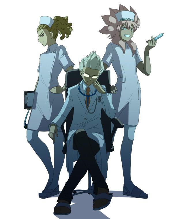 Tags: Anime, Pixiv Id 393738, Level-5, Inazuma Eleven, Kidou Yuuto, Gouenji Shuuya, Tsunami Jousuke, Shiny Glasses, Pixiv, Fanart