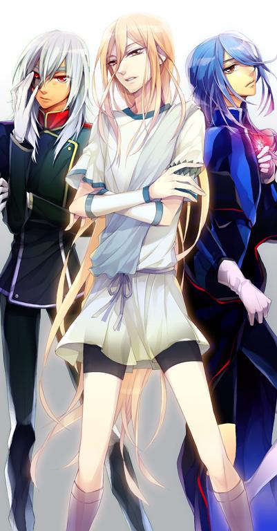 Tags: Anime, Bian (Pixiv861903), Level-5, Inazuma Eleven, Sakuma Jirou, Afuro Terumi, Kazemaru Ichirouta, Dark Emperors Uniform, Glowing Stone, Pixiv, Fanart, Dark Emperors