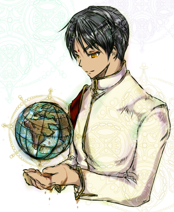Tags: Anime, Pixiv Id 353294, World Embryo, Axis Powers: Hetalia, India, Globe, Pixiv, Fanart, Asian Countries
