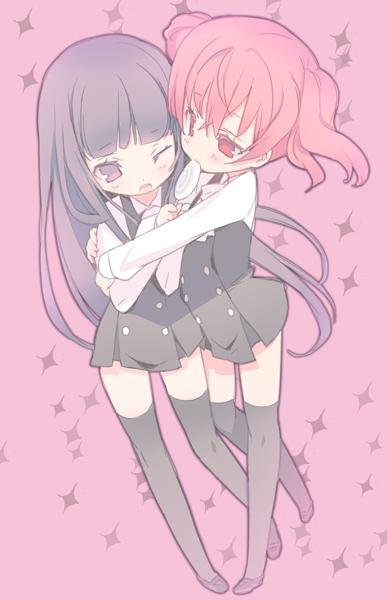 Tags: Anime, Blade (Lovewn), Inu x Boku SS, Roromiya Karuta, Shirakiin Ririchiyo, Surprise Hug, Mobile Wallpaper, Pixiv, Fanart
