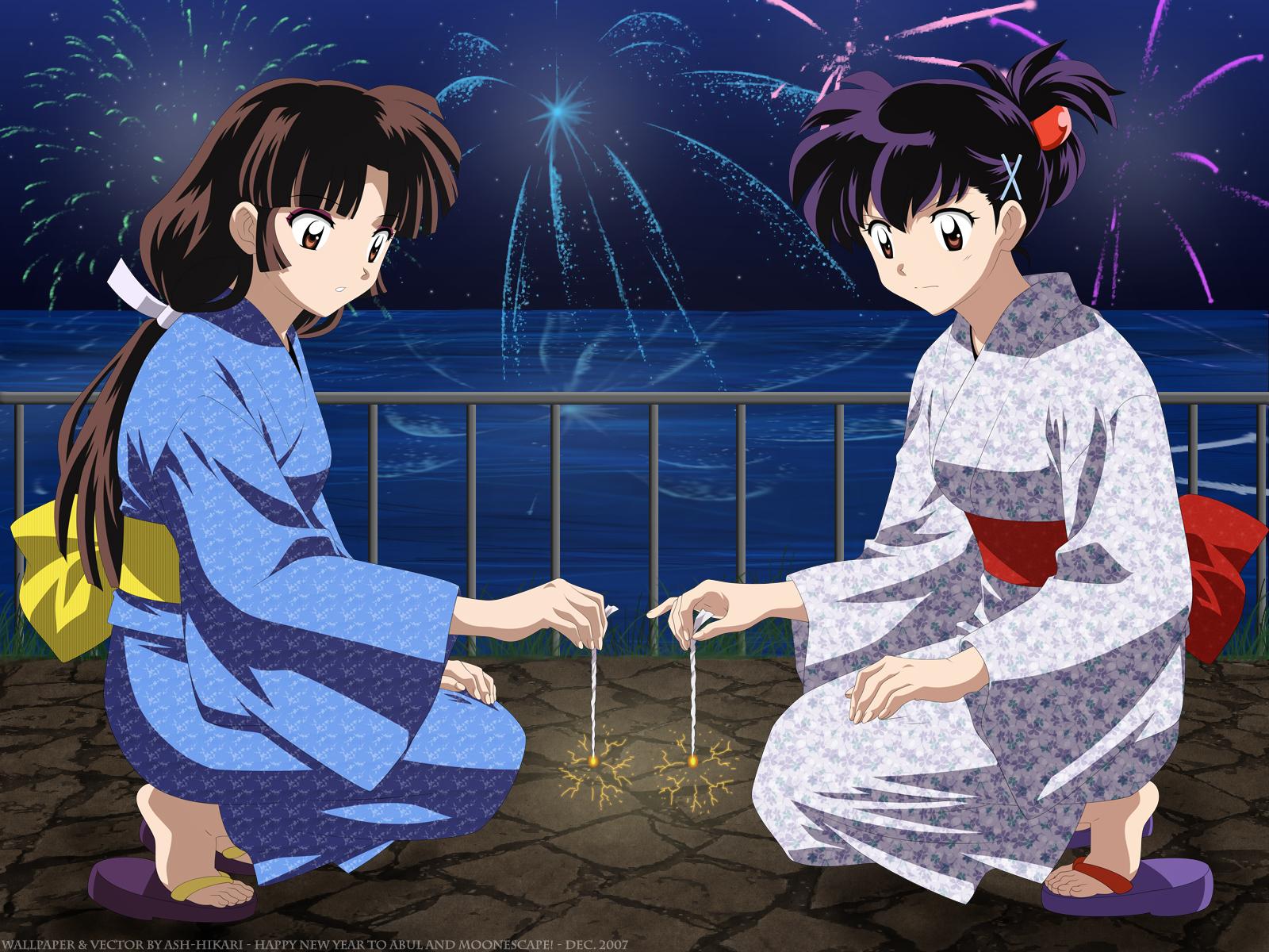 Tags Anime InuYasha Sango Higurashi Kagome Sparklers Official Art