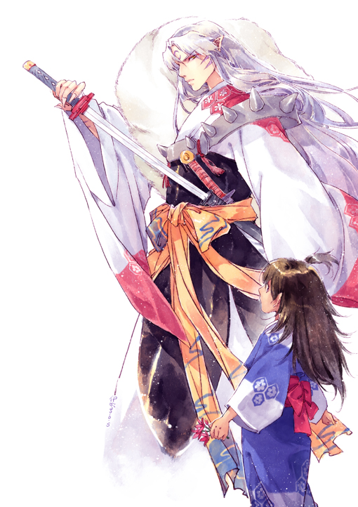 Tags: Anime, Ibuki Satsuki, InuYasha, Sesshoumaru, Rin (InuYasha), Mobile Wallpaper, Fanart