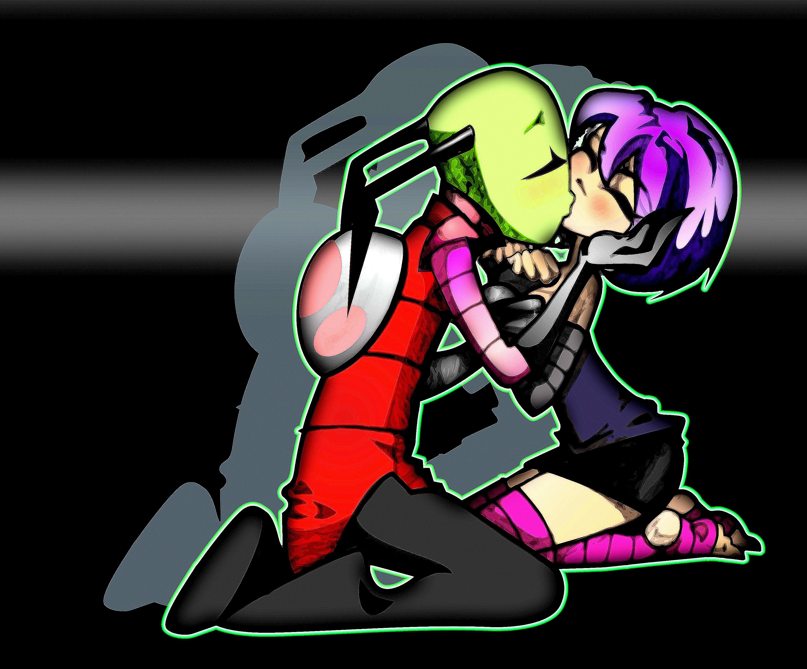 Zim And Gaz Anime Kiss Invader Zim/#564520 - ...