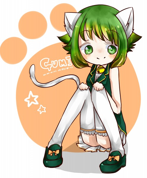 Tags: Anime, Pixiv Id 2179987, Vocaloid, GUMI, White Legwear, Petticoats, Sitting On Floor