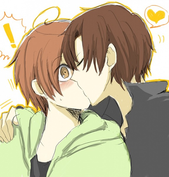 Tags: Anime, Pixiv Id 893547, Axis Powers: Hetalia, South Italy, North Italy, Kiss On The Lips, Surprised