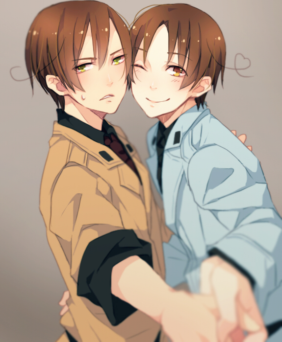 Hetalia south italy north italy cheeks together gray background