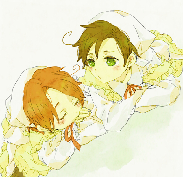 Tags: Anime, Axis Powers: Hetalia, South Italy, Chibitalia, North Italy, Chibimano, Artist Request, Italy Brothers