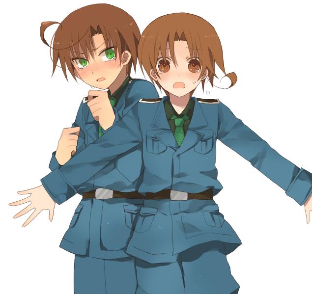 Tags: Anime, Uso Lala, Axis Powers: Hetalia, North Italy, South Italy, Protecting, Pixiv, Mediterranean Countries, Axis Power Countries, Italy Brothers