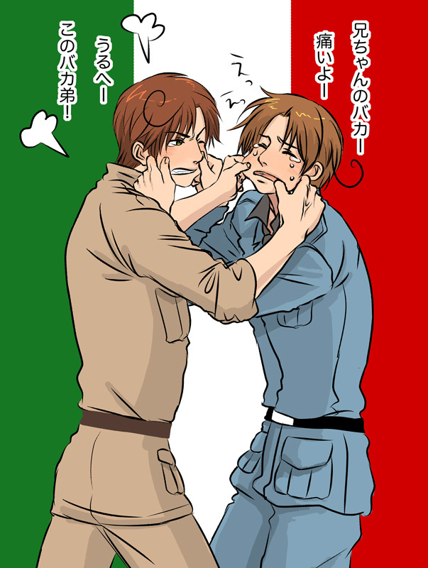 Tags: Anime, Natu Yasai, Axis Powers: Hetalia, Pulling, Flag Background, Cheek Pull, Pinching, Italy Brothers