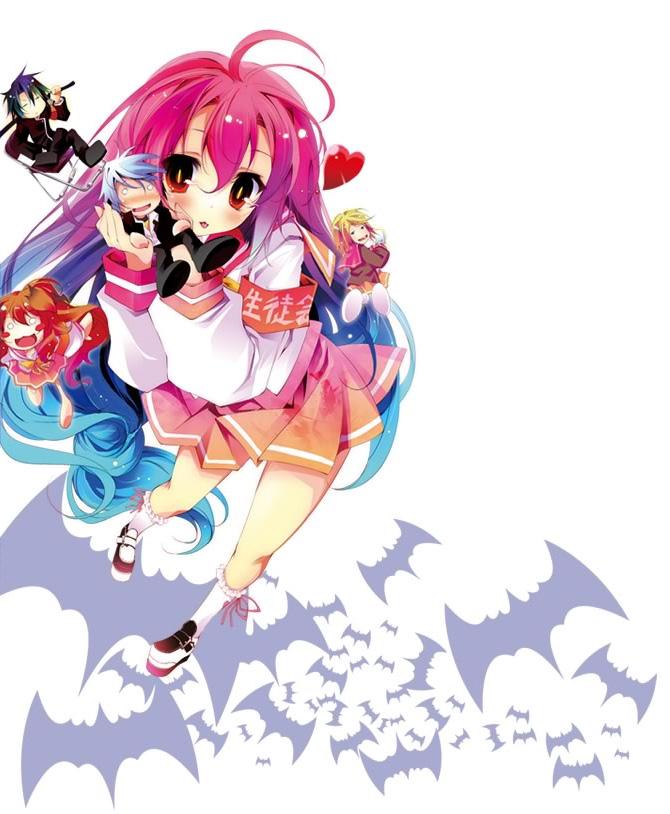 Tags: Anime, Kamiya Yuu, Itsuka Tenma no Kuro Usagi, Kurogane Taito, Shigure Haruka, Kurenai Gekkou, Andou Mirai, Saito Himea, Official Art