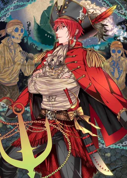 Tags: Anime, Roa Huduki, Uta no☆prince-sama♪, Ittoki Otoya, Hat Feather, Skull And Crossbones, Anchor, Pixiv, Fanart, Mobile Wallpaper