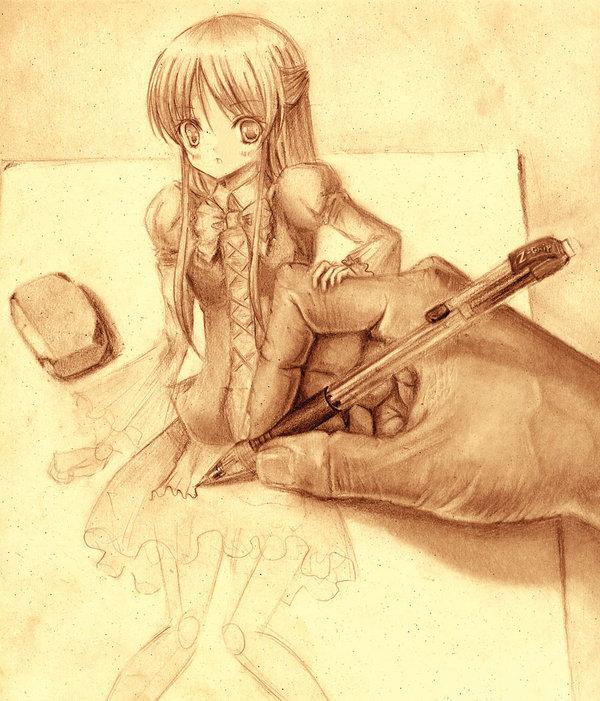 Tags: Anime, J00nk1m110, Eraser, Drawing (Action), Original, deviantART