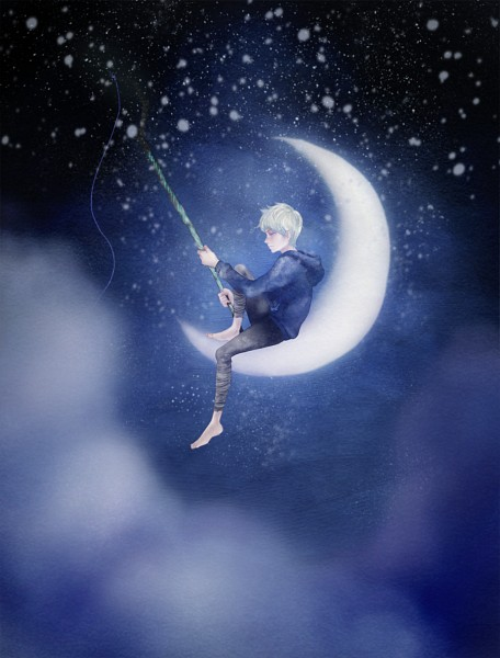 Tags: Anime, Alsh, Dreamworks, Rise of the Guardians, Jack Frost, Staff, Blue Hoodie