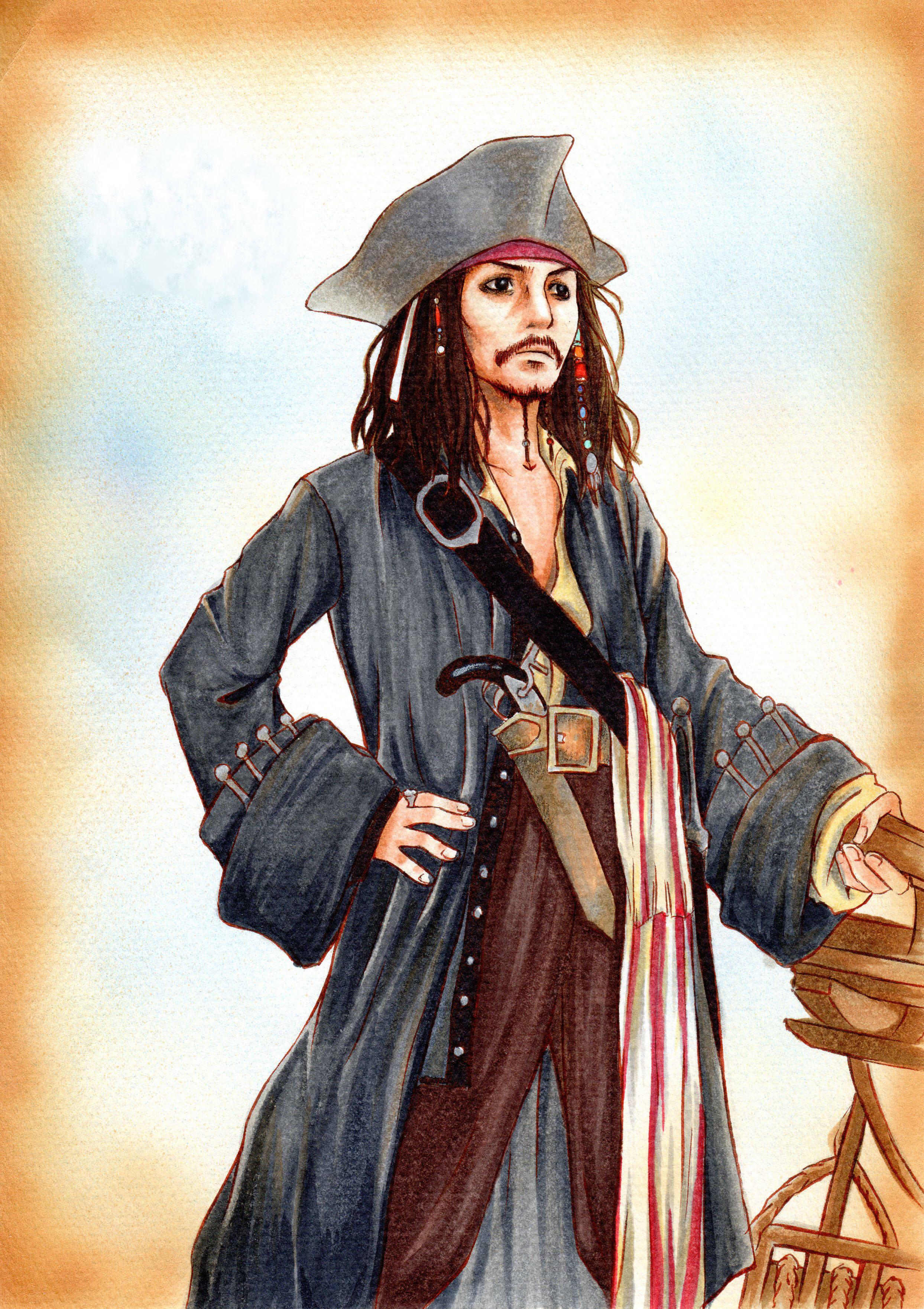 Jack sparrow pirates of the caribbean zerochan anime - Anime pirate wallpaper ...