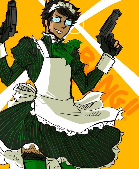 Tags: Anime, Blackoutballad, Homestuck, Jake English, Dual Guns, Green Legwear, Fanart, Tumblr