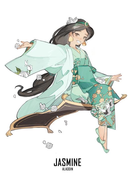 Tags: Anime, STAR Shadow Magician, Aladdin, Jasmine (Aladdin), Diseney, Flying Carpet, Arab, Rug, Green Footwear, Fanart, Fanart From Pixiv, Pixiv, Mobile Wallpaper