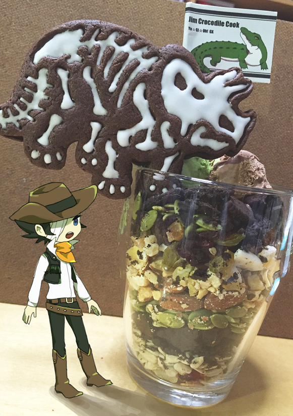 Tags: Anime, Pixiv Id 4951518, Yu-Gi-Oh!, Yu-Gi-Oh! GX, Jim Crocodile Cook, Karen (Yu-Gi-Oh! GX), Cowboy, Crocodile (Animal), Brown Headwear, Dinosaur, Orange Neckwear, Brown Hat, Pixiv