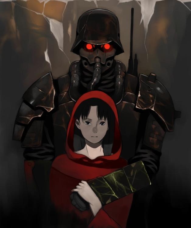 Tags: Anime, Shiira, Red Riding Hood, Jin Roh, Fuse Kazuki, Amemiya Kei, Soldier, Army, Pixiv, Fanart From Pixiv, Fanart
