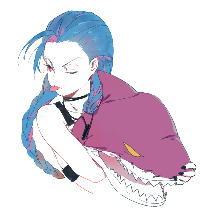 Tags: Anime, League of Legends, Jinx (League of Legends), Shark, Artist Request