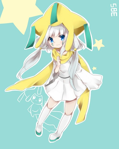 Tags: Anime, Takeshima (nia), Pokémon, Jirachi, Thigh Boots, Yellow Neckwear, White Footwear