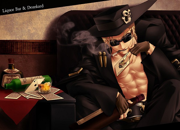 Tags: Anime, Pixiv Id 515339, GUILTY GEAR, Johnny Sfondi, Drinks, Sunglasses, Card (Object)