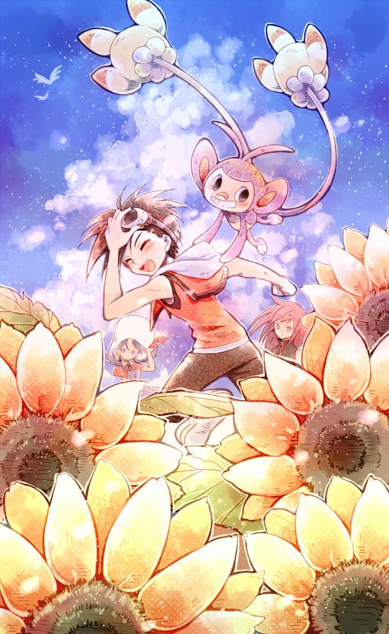 Tags: Anime, @tom, Pokémon SPECIAL, Pokémon, Ambipom, Gold (Pokémon SPECIAL), Crystal (Pokémon SPECIAL), Silver (Pokémon SPECIAL), Capri Pants, Pixiv, Fanart From Pixiv, Fanart, Johtrio