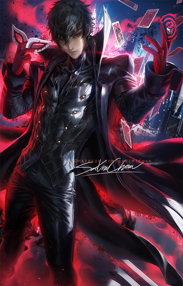 Tags: Anime, Sakimichan, Shin Megami Tensei: PERSONA 5, Amamiya Ren (Persona 5), Joker (Persona 5), Variation, Holding Mask, Fanart From DeviantART, deviantART, Fanart
