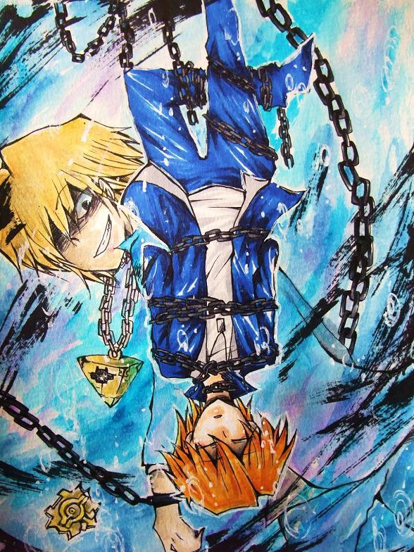 Tags: Anime, Pixiv Id 4278090, Yu-Gi-Oh! Duel Monsters, Yu-Gi-Oh!, Jounouchi Katsuya, Chain Necklace, Tarot Cards, The Hanged Man, Copics, Traditional Media, Joey Wheeler
