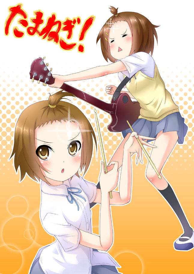 Tags: Anime, Mirai (Macharge), K-ON!, Hirasawa Yui, Tainaka Ritsu, Drumsticks